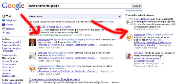 Busqueda en google con resultados de twitter