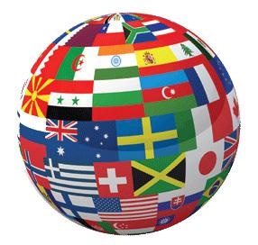 bola del mundo con banderas